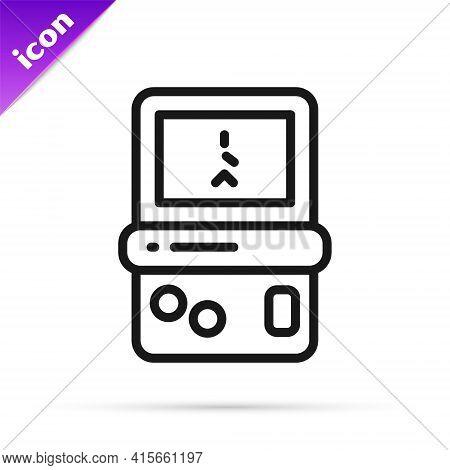 Black Line Portable Tetris Electronic Game Icon Isolated On White Background. Vintage Style Pocket B