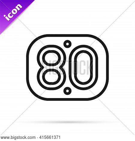 Black Line 80s Retro Icon Isolated On White Background. Eighties Poster. Vector