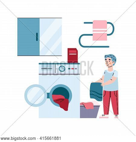 Hardworking Child Puts Laundry To Washing Machine, Vector Illustration Isolated.