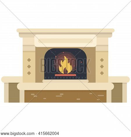 Fireplace With Firewood Vector Illustration Isolated On White