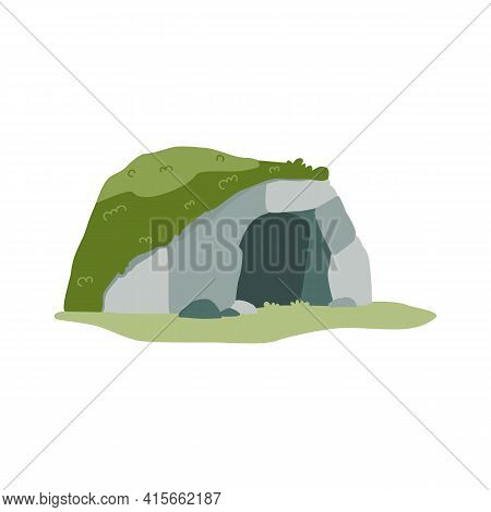 Stone Cave Of Prehistoric Man Dwelling, Flat Vector Illustration Isolated.