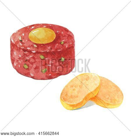 Beef Tartare With Capers, Toasts, Yolk And Fresh Onions On White Background. Hand Drawn Watercolor I