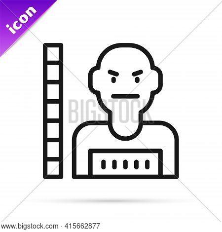 Black Line Suspect Criminal Icon Isolated On White Background. The Criminal In Prison, Suspected Nea