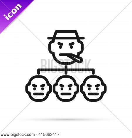 Black Line Mafia Icon Isolated On White Background. Boss And Gangsters. Vector