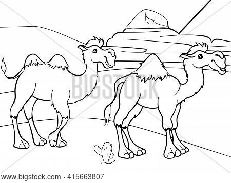 Two Camels In The Desert. Children Coloring Book. Animal.