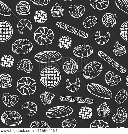 Bakery Seamless Pattern With Engraved Elements. Background Design With Bread, Pastry, Pie, Buns, Swe