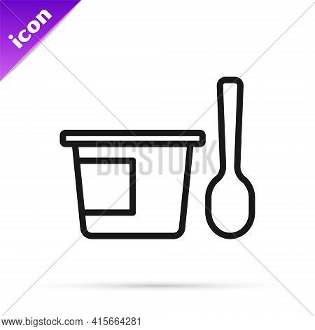 Black Line Yogurt Container With Spoon Icon Isolated On White Background. Yogurt In Plastic Cup. Vec