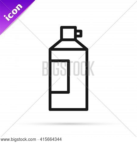 Black Line Whipped Cream In An Aerosol Can Icon Isolated On White Background. Sweet Dairy Product. M