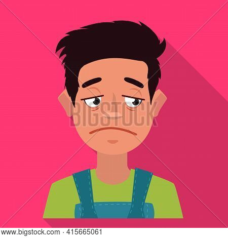 Isolated Object Of Guy And Sad Symbol. Set Of Guy And Person Vector Icon For Stock.