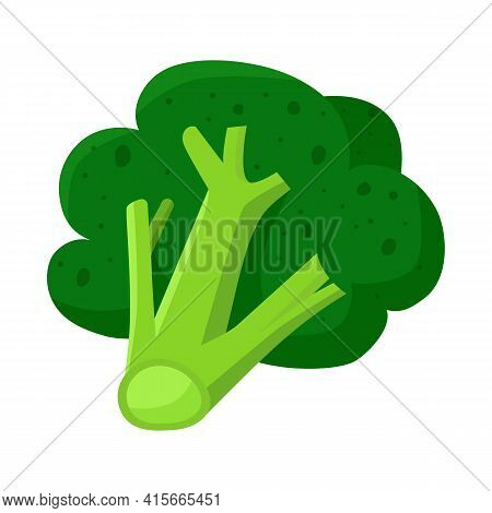 Isolated Object Of Broccoli And Product Logo. Collection Of Broccoli And Crop Vector Icon For Stock.