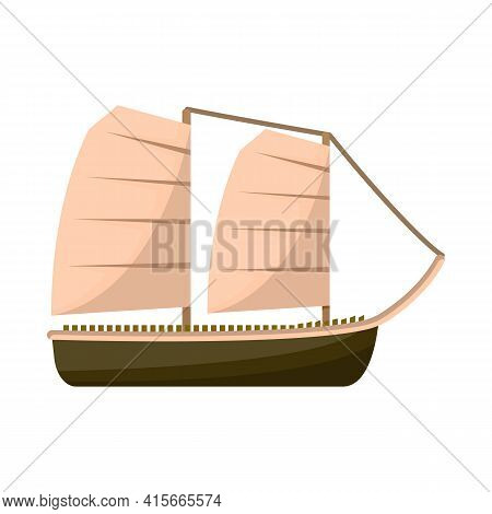 Vector Illustration Of Ship And Vietnamese Logo. Set Of Ship And Boat Vector Icon For Stock.