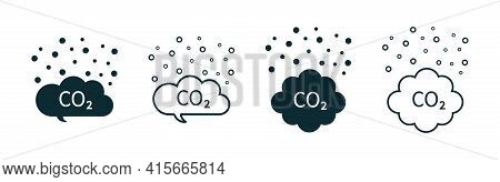 Co2 Cloud. Icon Of Carbon Pollution. Emission Of Gas In Air. Emission Exhaust, Smog In Environment.