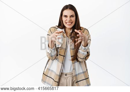 Funny Girl Clench Hands And Making Weird Face As If Strangle Someone, Wants To Kill Or Choke Annoyin