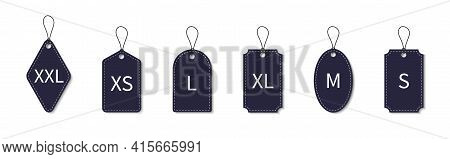 Size Label. Cloth Label Of Size. Tag Of Xl, S, Xxl, L, M, Xs, Xxxl. Icon For Large, Small Fabric Of
