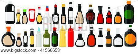 Illustration On Theme Big Kit Varied Glass Bottles Filled Liquid Balsamic Vinegar. Bottles Consistin