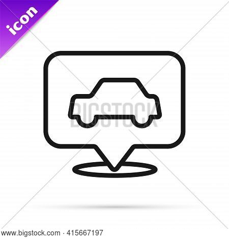 Black Line Car Service Icon Isolated On White Background. Auto Mechanic Service. Repair Service Auto