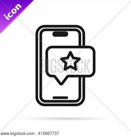 Black Line Mobile Phone With Review Rating Icon Isolated On White Background. Concept Of Testimonial