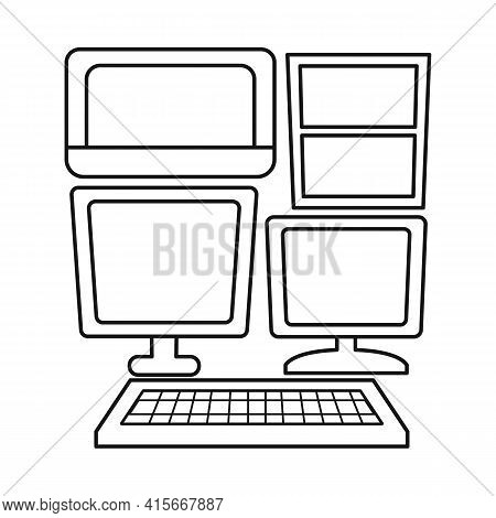 Vector Design Of Display And Pc Icon. Web Element Of Display And Monitor Stock Vector Illustration.