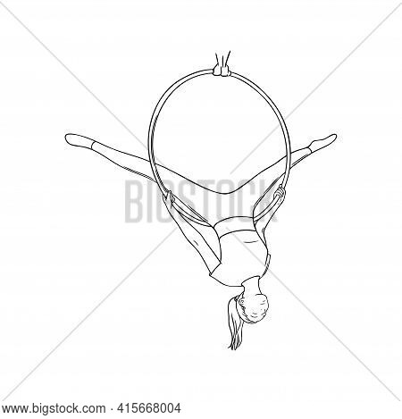 Aerial Gymnast Sketch. Sportive Woman In The Aerial Hoop. Engraved Vector Illustration In White Back
