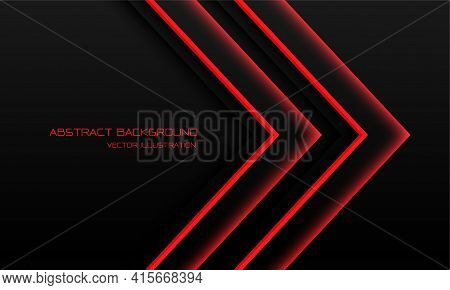 Abstract Red Light Neon Arrow Direction On Black With Blank Space Design Modern Futuristic Technolog