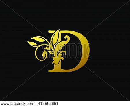 Luxury D Letter Design. Graceful Ornate Icon Vector Design. Vintage Drawn Emblem For Book Design, Br