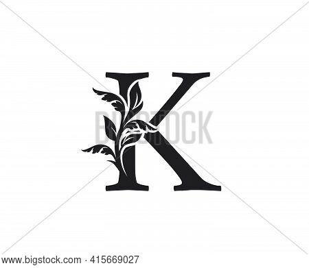 Classic Letter K Heraldic Logo. Vintage Classic Ornate Letter Vector.