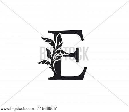 Classic Letter E Heraldic Logo. Vintage Classic Ornate Letter Vector.