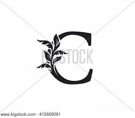 Classic Letter C Heraldic Logo. Vintage Classic Ornate Letter Vector.