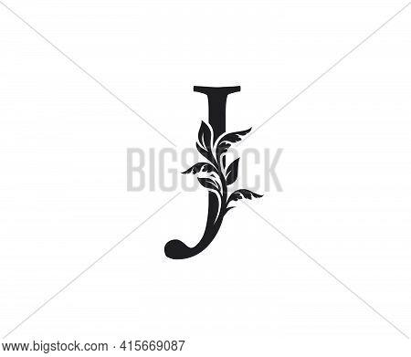 Classic Letter J Heraldic Logo. Vintage Classic Ornate Letter Vector.