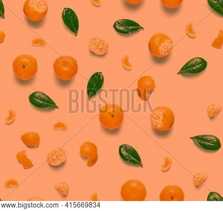 Tangerine Orange Seamless Pattern. Isolated Mandarin Pieces On White Background. Flat Lay Of Whole A