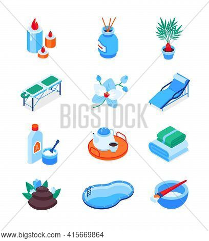Wellness And Spa - Modern Isometric Icons Set