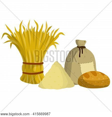 Sheaf Of Hay. Countryside Is A Stack Of Wheat Ears. Village Harvest.