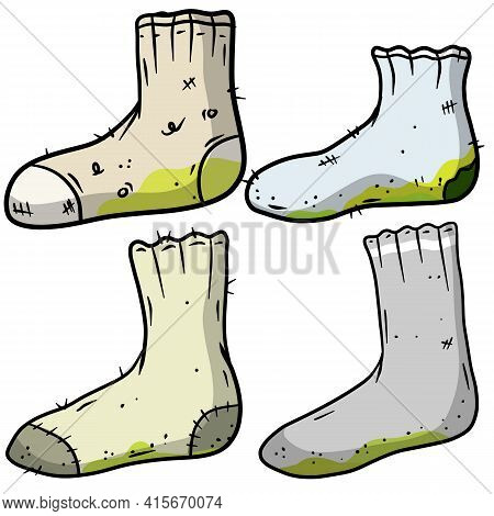 Dirty Sock. Smelly Feet. Sloppy Clothes. Stinky Toe. Grey Object For Washing