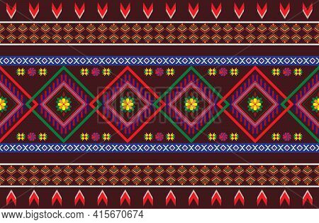 Geometric Design Pattern Fabric Ethnic Oriental Traditional  For Embroidery Style, Curtain, Backgrou