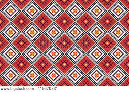 Geometric Design Pattern Fabric Ethnic Oriental Traditional For Embroidery Style, Curtain, Backgroun
