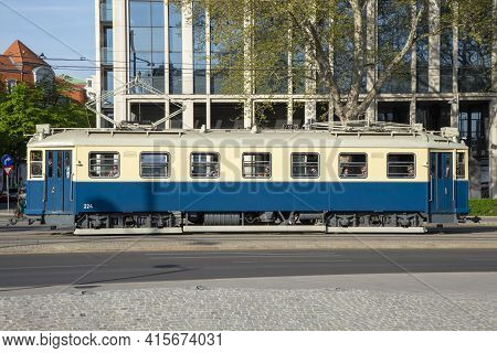 Vienna, Austria - April 25, 2015: Old Vintage Streetcar In The First District Of Vienna, Austria.