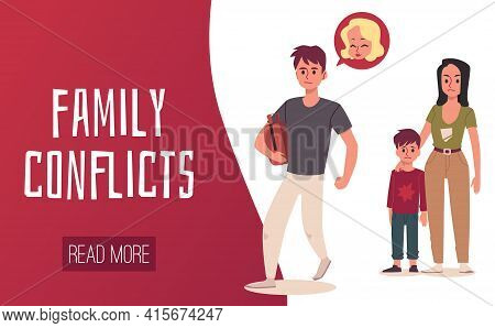 Family Divorce, Father Leaves Child And Wife A Vector Design For Web