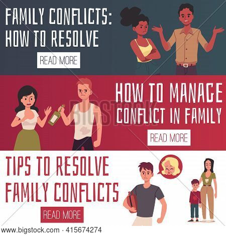 Family Conflicts - Tips For Resolve And Manage - Two Vector Flat Cartoon Banners