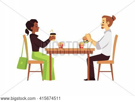People Sit At Cafeteria Or Fast Food Cafe, Flat Vector Illustration Isolated..