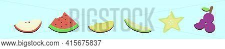 Set Of Slice Fruit Bite Cartoon Icon Design Template With Various Models. Modern Vector Illustration