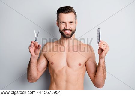 Photo Of Young Happy Positive Smile Bristle Man Hold Hairbrush Scissors Compare Advice Advert Isolat