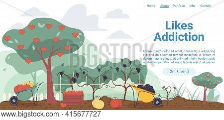 Vector Cartoon Flat Farmers Garden, Trees With Like Hearts Symbols-likes Addiction, Social Media Mar