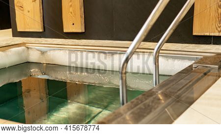 Cold Water Plunge Pool In The Spa And Wellness Center. Pool With Very Cold Water For Body Hardening.