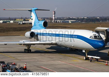 Untitled Airplane. Passenger Plane. Aircraft Without Title At Airport Terminal. Aviation Theme. On A