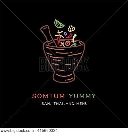 Green Papaya Salad (som Tum) Line Art Vector Illustration. Som Tam,thai Cuisine Menu. Som Tum Is Tha