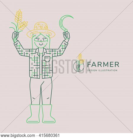 Happy Farmer Illustration Show Hands Up With Rice And Sickle Vector Illustration For Agricultural Co