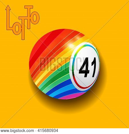 3d Illustration Of Striped Lotto Ball With Shadow Over Yellow Background With Decorative Original Te
