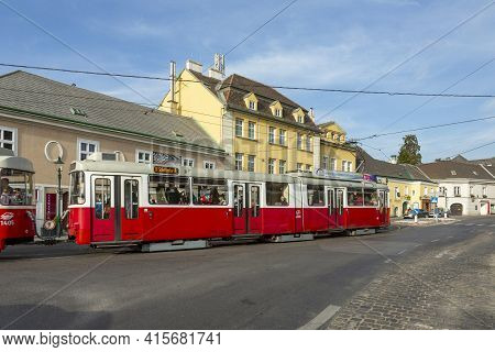 Vienna, Austria - April 27, 2015:  View To Center Of Grinzing In Vienna In Early Morning With Nearly