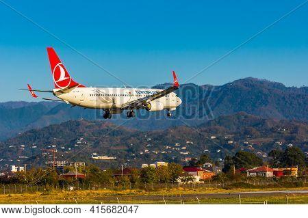 Batumi, Georgia - November 11, 2020. Boeing 737-800 Of Turkish Airlines