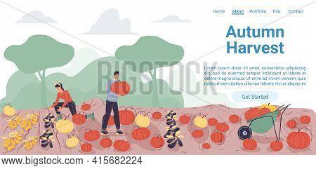 Vector Cartoon Flat Farmer Characters Harvesting, People Workers Harvest Vegetables In Autumn Season